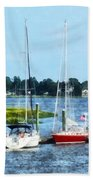 Boat - Two Docked Sailboats Norwalk Ct Beach Towel