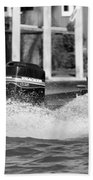 Boat Wake Black And White Beach Towel