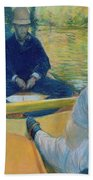 Boaters On The Yerres Beach Towel