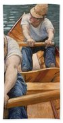 Boaters Rowing On The Yerres Beach Towel