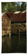 Boathouses On The River Beach Towel