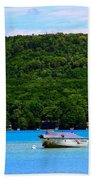 Boating At Sleeping Bear Dunes Lake Michigan Beach Towel