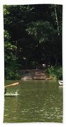 Boating In Central Park Beach Towel
