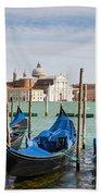 Boats Anchored At Marina Venice, Italy Beach Towel