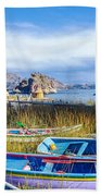 Boats And Floating Islands Beach Towel