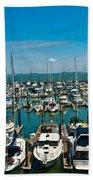 Boats At Bay Beach Towel