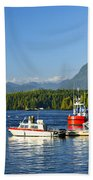 Boats At Dock In Tofino Beach Towel