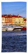 Boats At St.tropez Harbor Beach Towel by Elena Elisseeva