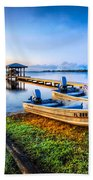 Boats At The Lake Beach Towel