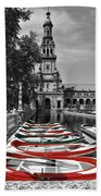 Boats By The Plaza De Espana Seville Beach Towel by Mary Machare