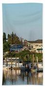 Boats In A River, Walnut Grove Beach Towel