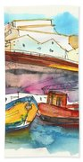 Boats In Ericeira In Portugal Beach Towel by Miki De Goodaboom