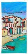 Boats In Front Of Buildings Viii Beach Towel by Xueling Zou