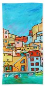 Boats In Front Of The Buildings Vii Beach Towel