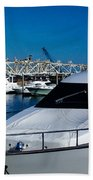Boats In Port 2 Beach Towel