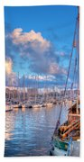Boats In The Harbor Of Barcelona Beach Towel