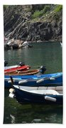 Boats In Vernazza Beach Towel