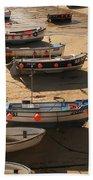 Boats On Beach Beach Towel by Pixel  Chimp