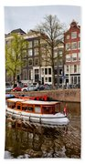 Boats On Canal In Amsterdam Beach Sheet