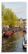Boats On Canal Tour In Amsterdam Beach Towel