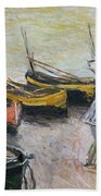 Boats On The Beach Beach Towel