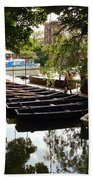 Boats On The Thames River Oxford England Beach Towel