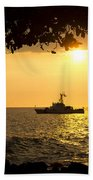 Boats Under The Hawaiian Sunset Beach Towel