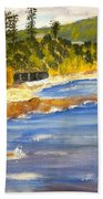 Boatsheds At Sandon Point Beach Towel