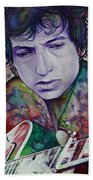 Bob Dylan-pink And Green Beach Towel by Joshua Morton