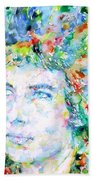 Bob Dylan Watercolor Portrait.3 Beach Towel