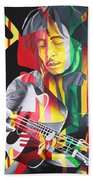 Bob Marley And Rasta Lion Beach Towel