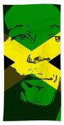 Bob Marley On Jamaican Flag Beach Towel