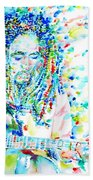 Bob Marley Playing The Guitar - Watercolor Portarit Beach Towel