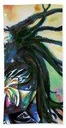 Bob Marley Singing Portrait.1 Beach Towel