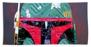 Boba Fett Star Wars Bounty Hunter Helmet Recycled License Plate Art Beach Towel