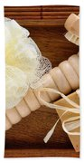 Body Care Accessories In Wood Tray Beach Towel