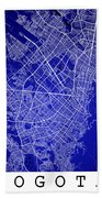 Bogota Street Map - Bogota Colombia Road Map Art On Colored Back Beach Towel