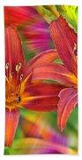 Bold And Beautiful Daylilies Beach Towel