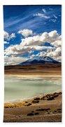 Bolivia Lagoon Clouds Framed Beach Towel