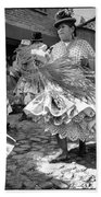 Bolivian Dance Framed Black And White Beach Towel