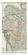 Bonne Map Of Poitou Touraine And Anjou France Beach Towel