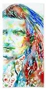 Bono Watercolor Portrait.2 Beach Towel