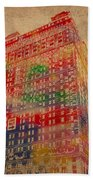 Book Cadillac Iconic Buildings Of Detroit Watercolor On Worn Canvas Series Number 3 Beach Towel by Design Turnpike