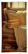 Books On Victorian Sofa Beach Towel