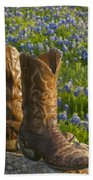 Boots And Bluebonnets Beach Towel