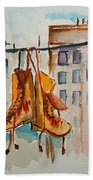 Boots On A Wire Beach Towel