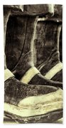 Boots On The Ground Monotone Beach Towel by Joan Carroll