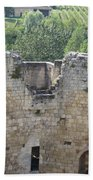 Bordeaux Castle Ruins With Vineyard Beach Towel