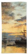 Bordeaux In The Harbor Beach Towel