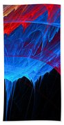 Borealis - Blue And Red Abstract Beach Towel